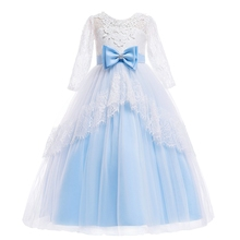 AmzBarley Kids Dress For Girls Wedding Tulle Lace Long Girl Elegant Princess Party Prom Dresses Children