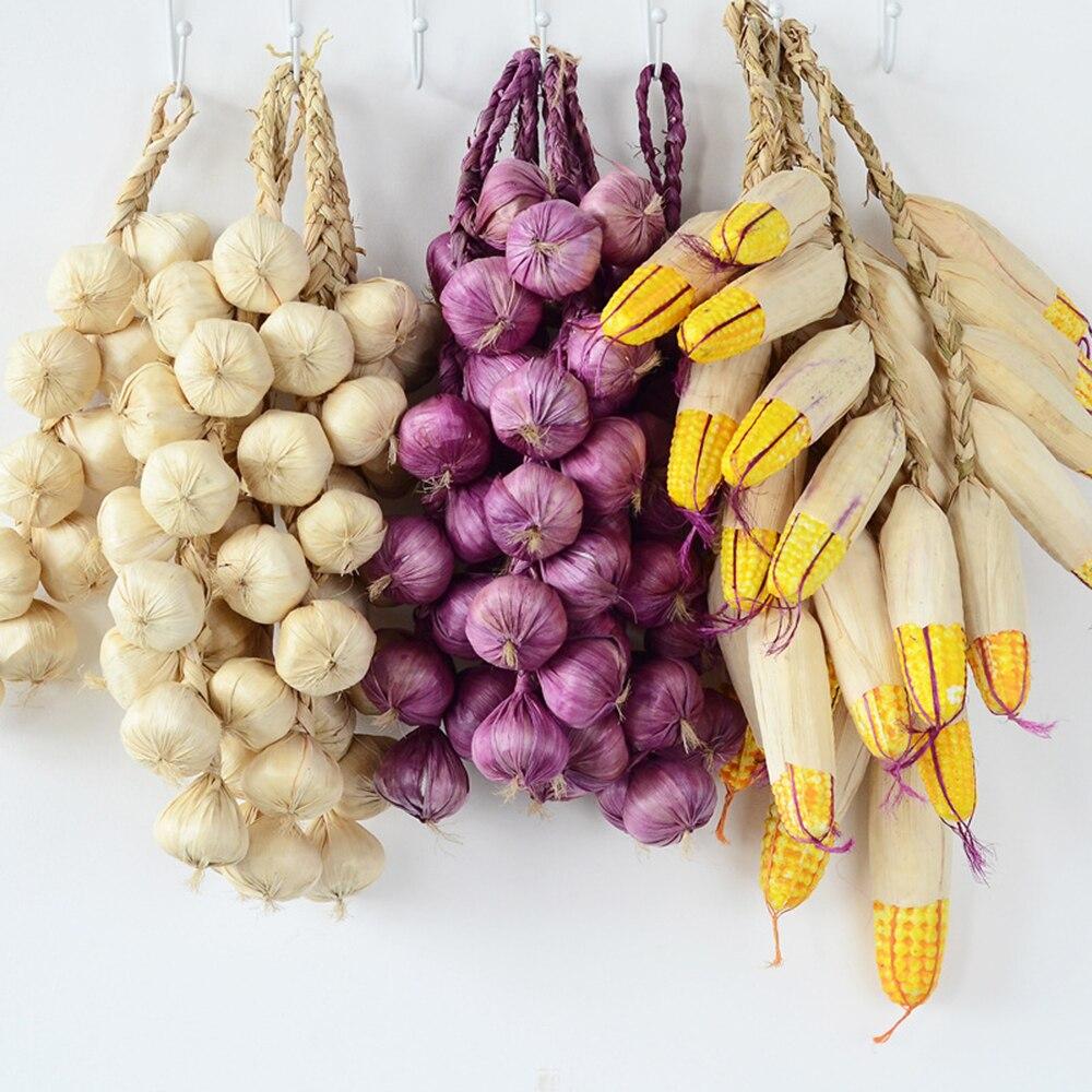 Falso Artificial De Frutas Decorativas Lifelike Espuma Prato de Lula de Milho Pimenta Vermelha Cebola Alho Cozinha Decoração Para O Ano Novo Chinês