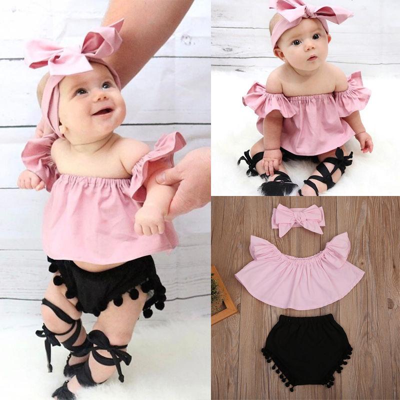 Pudcoco Girl Set 0-24M 3Pcs Toddler Baby Kids Girl Clothes Off Shoulder T-shirt+Short Pants Outfits Set