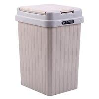 Новый горячий 10L квадратный округлая крышка мусорный контейнер мусорная пыль чехол Бытовая офисная комната ванная комната Декор-хаки