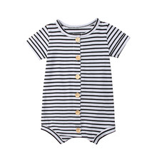 2019 Brand New Toddler Newborn Baby Boys Girl Striped Romper Infant Boy Girl Jumpsuit Cotton Short Sleeve Casual Summer Clothing(China)