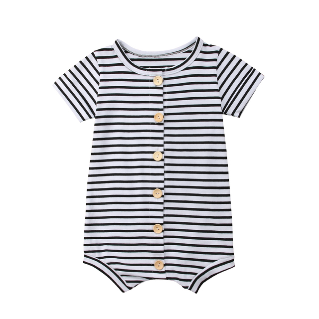 2019 Brand New Toddler Newborn Baby Boys Girl Striped Romper Infant Boy Girl Jumpsuit Cotton Short Sleeve Casual Summer Clothing