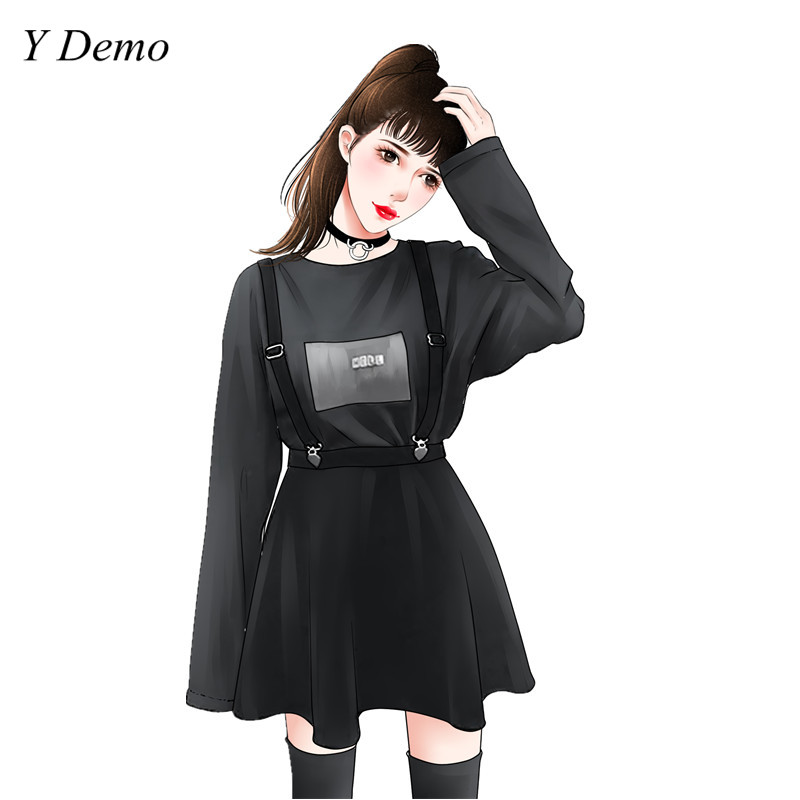 Preppy Style Black Chic Straps Skirt Harajuku Female Casual High Waist Short O-neck Sweatshirt