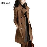 2018 New Women Trench Woolen Coat Winter Slim Double Breasted Overcoat Winter Coats Long Outerwear for Women Plus Size Coat