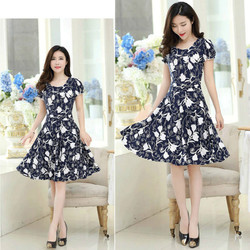2019 new Plus Size Summer Slim Thin Sexy Short Sleeve Dress Lady Print Floral Dress women clothes 5