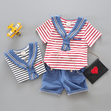 Boys Clothes Set Summer Baby Cotton Infant Clothing Navy Style Red Striped T Shirts + Blue Shorts 1-4 Years 2019 New Fashion