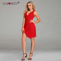 New Year Red Cocktail Dresses Short Ever Pretty 2019 Sexy V Neck Sleeveless Mermaid Mini Party Club Night Dresses Robe Cocktail