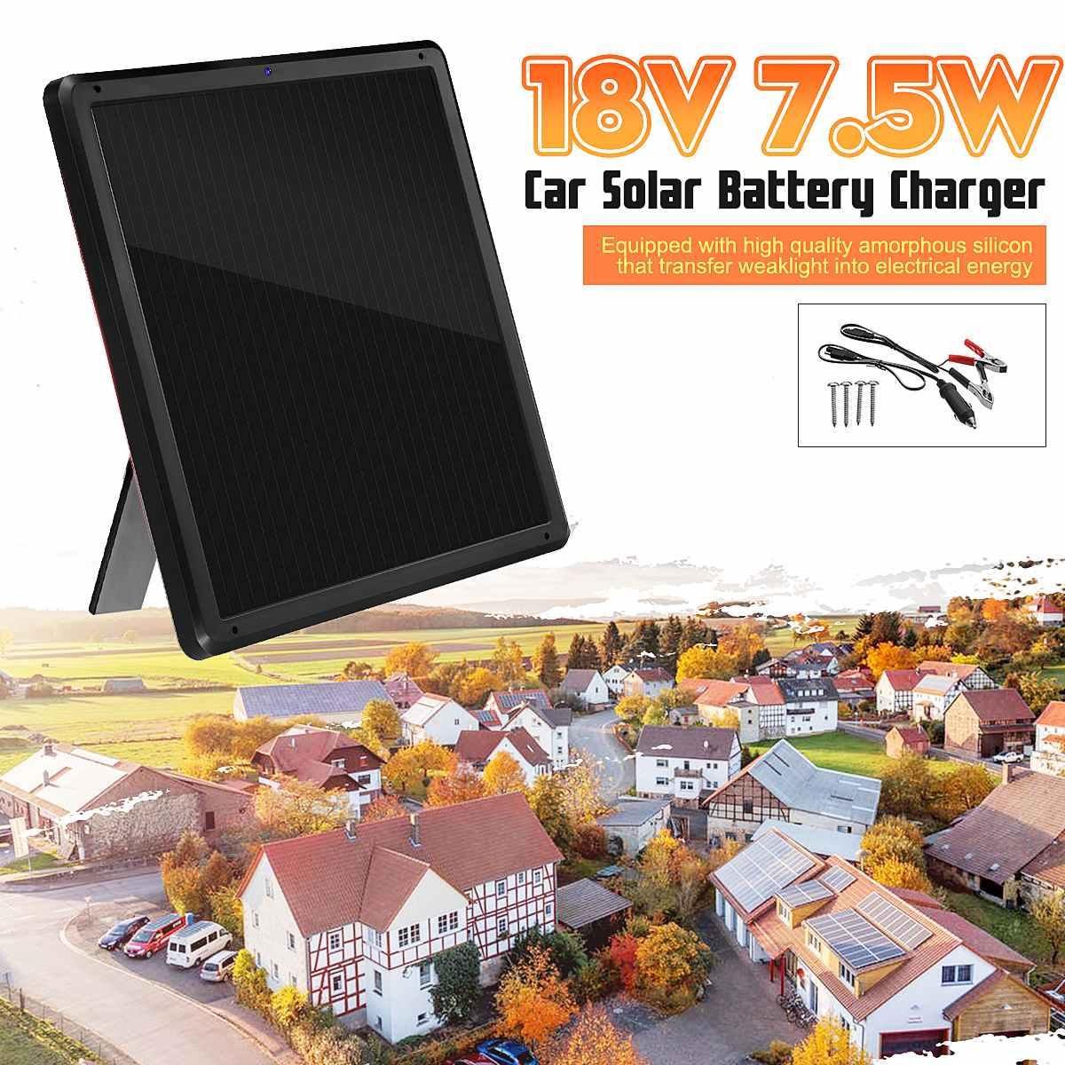 18 V 7.5 W panneau solaire Trickle chargeur de batterie mainteneur pour voiture véhicule charge étanche 337x337x17mm plier Support Stand