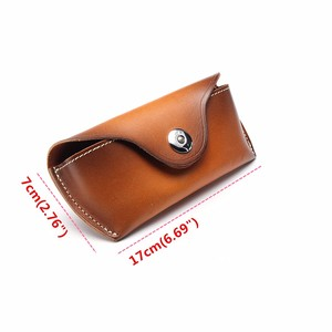 Image 2 - Cow Leather Eye Glasses Bag for Eyeglass High Quality Handmade Causal Jeans Belt Glasses Case Sunglasses Protector Case Black