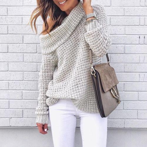 Women One-shoulder Turtleneck Knitted Sweater Loose Jumper Tops Outwear Pullover Jumper Pull Femme