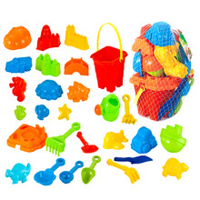 28Pcs Plastic Children Outdoor Beach Sand Toy Playset With Mesh Bag Bucket Sand Tool Model Water Game Sand Playing For Kids(China)
