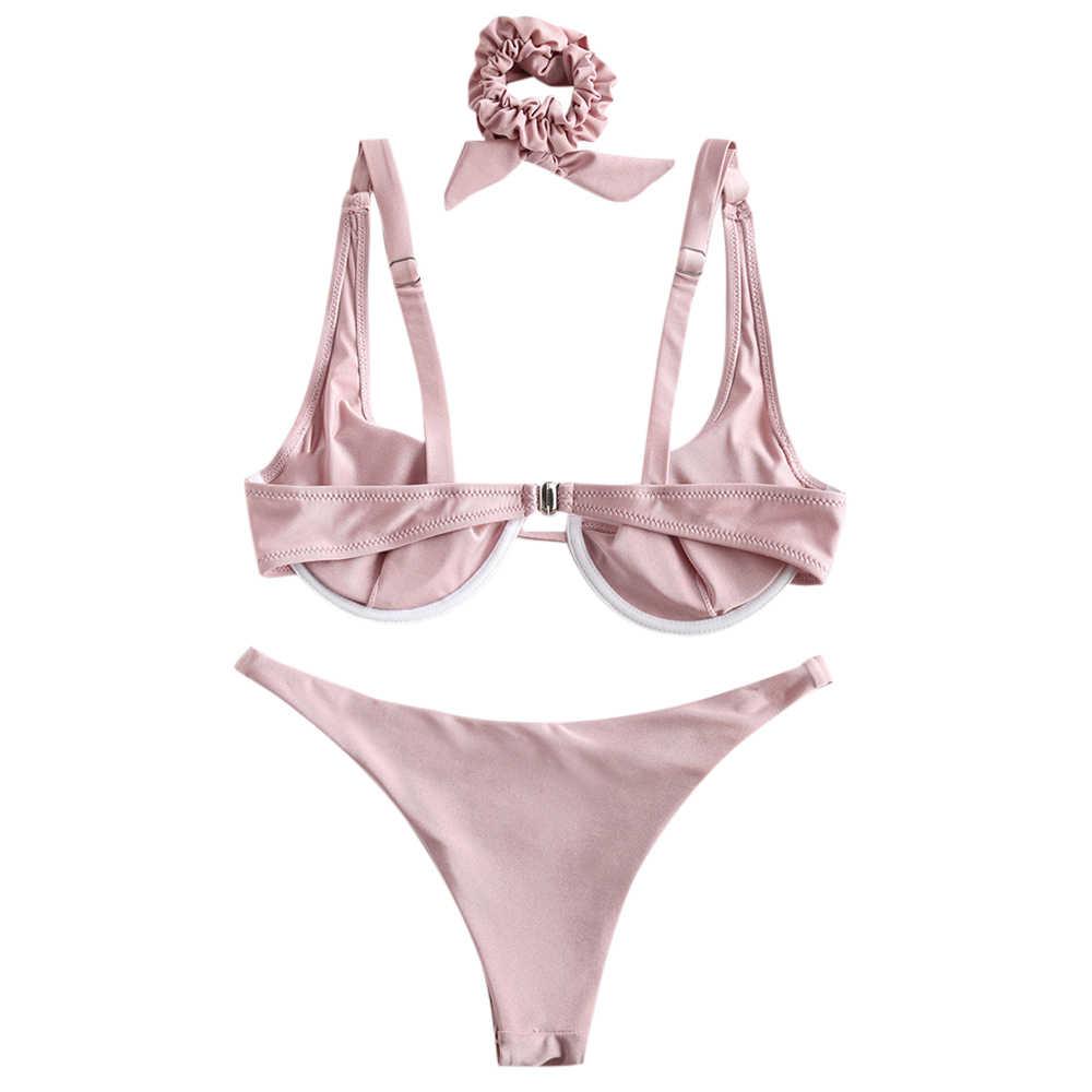 ZAFUL wysokiej wycinane błyszczące Bikini Set stałe Bikini stroje kąpielowe kobiety strój kąpielowy kobiet kostium kąpielowy typu push up Maillot De Bain