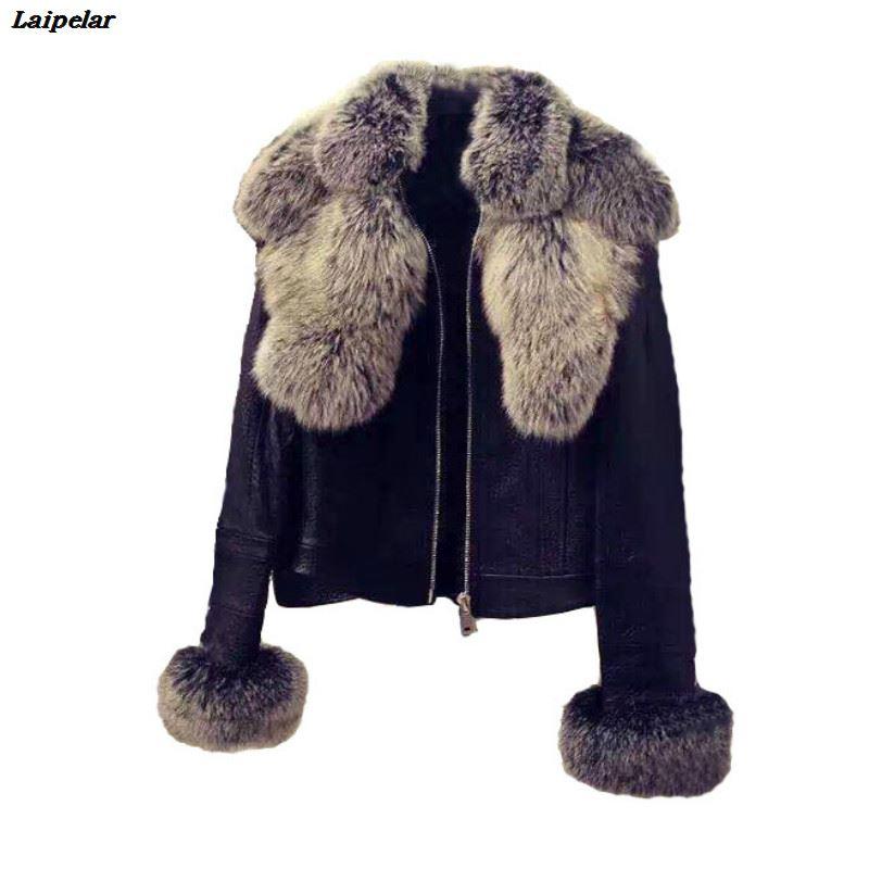 Chic Big Faux Fox Fur Removable Collar Slim Faux Leather Jacket PU Coat Turn Down Collar Zipper Bomber Cardigan Outwear 2018