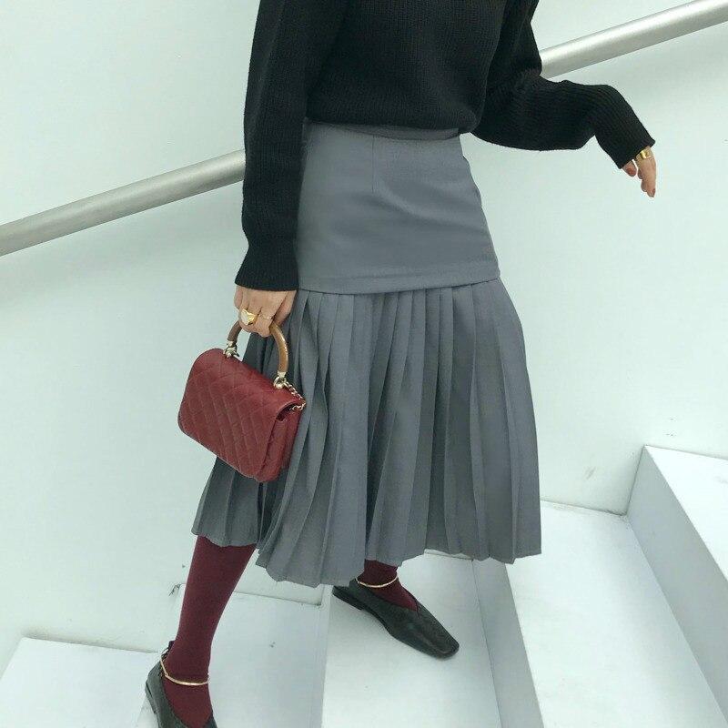 A Japon Halfbody Haute Wd39202l Femme Taille Grey Patchwork De Printemps Jupe Styles Nouveau Vêtement Deat Pour Mode 2019 Plissée ligne 7qfSwT