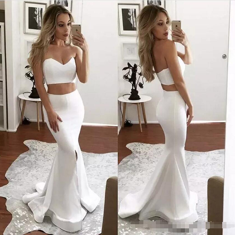White Two Pieces  Mermaid Prom Dress Sweetheart Long Elegant Robe De Soiree Informal Party Gowns