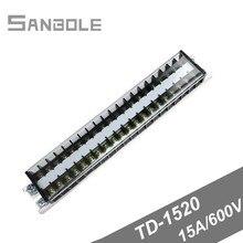 TD-1520 Terminal blocks Dual Row Connection Plate Screw 15A/600V 20P Strip Universal Barrier DIN rail mounting цены