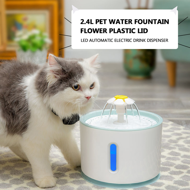 2.4L Automatic Cat Water Fountain Electric Water Fountain With LED Pet Dog Cat Drinking Fountain Dispenser