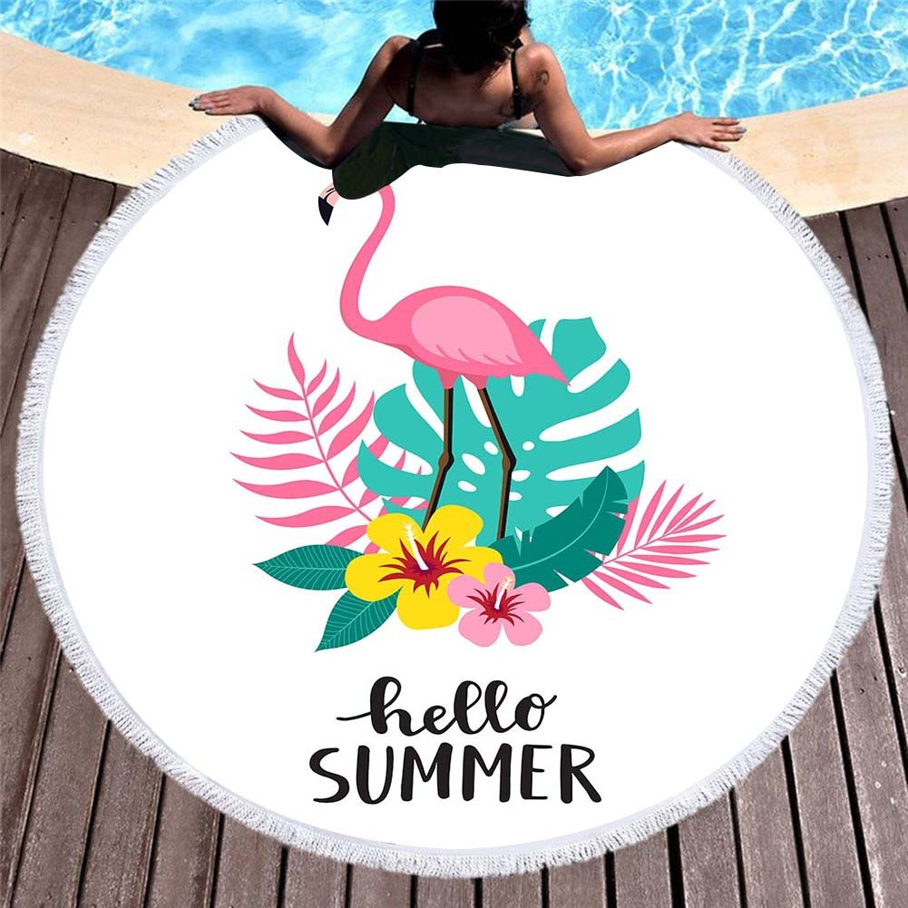 Cartoon Flamingo Pink Round Beach Towels For Kids Microfiber Towel Bath Pineapple Green Leaves Summer Yoga Mat Large Toalla Bath in Bath Towels from Home Garden