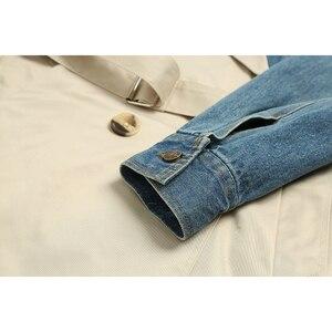 Image 5 - [EAM] 20120 חדש אביב סתיו דש ארוך שרוול חאקי להיט צבע ג ינס Stitcing Loose Sashes מעיל רוח נשים אופנה גאות JH638