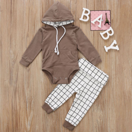 Warm Baby Boys Infant Clothes Autumn Winter Long Sleeve Hooded Tops Romper Pants 2PCS Outfits Set in Clothing Sets from Mother Kids