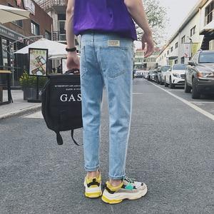 Image 4 - 2020 yaz erkek moda trendi siyah/mavi renk rahat harem pantolon streç Slim Fit Skinny Jeans Biker denim pantolon 27 34