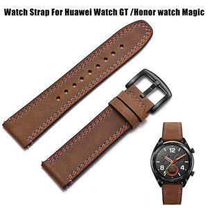 Image 4 - 22MM Smart Replacement Sports Watch With Leather Watch Strap Crazy Horse Double Line Wristband For Huawei Watch Honor Magic
