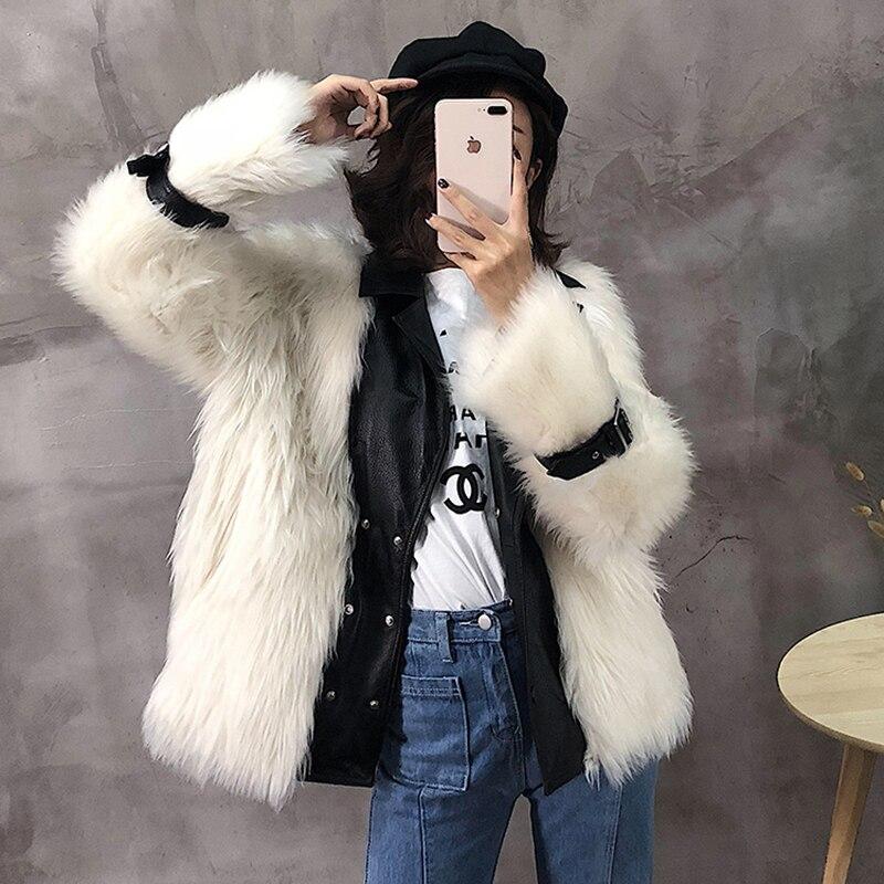 2018 Veste Laine Black Ptslan Bonne Hiver Véritable Cuir Qualité Chaud Réel Luxe Court De Manteau White Femmes En P5103 UrUnHZEp