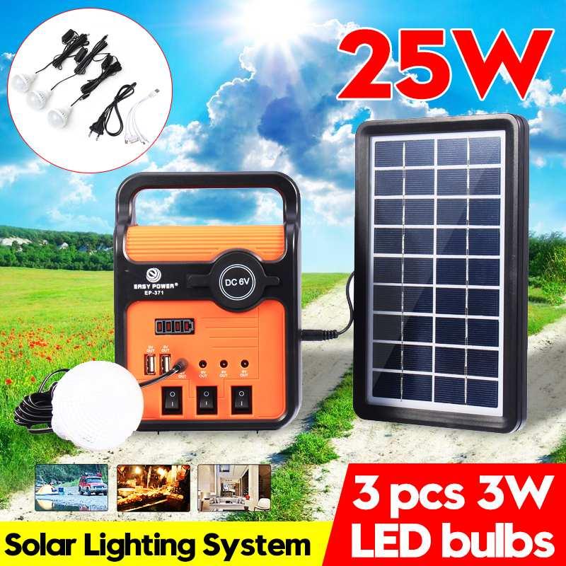 Smuxi Solar Panel Generator System Solar Power Panel Generator Kit with Radio Outdoor Led Emergency Lighting Mobile Power Supply