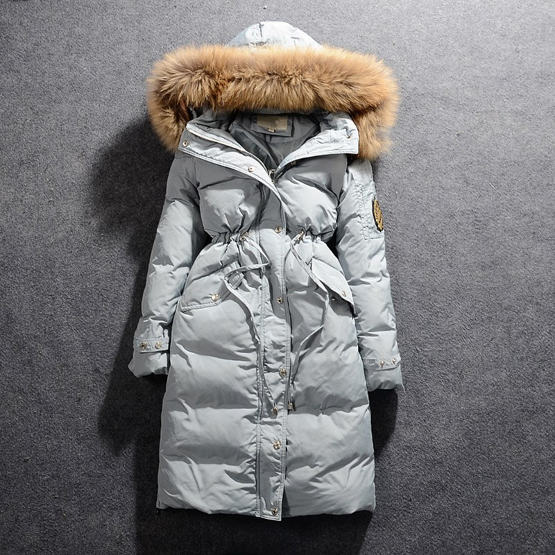 Winter Jacket Women Large Real Fur Collar Long   Parkas   Coat Female Zipper Duck Down Duck Coat