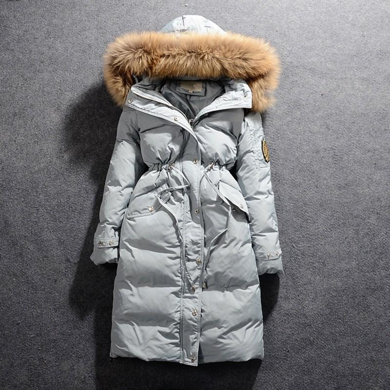 Winter Jacket Women Large Real Fur Collar Long   Parkas   Female Zipper Duck Down Duck Coat Warm Elastic Waist Casual Hooded Coat