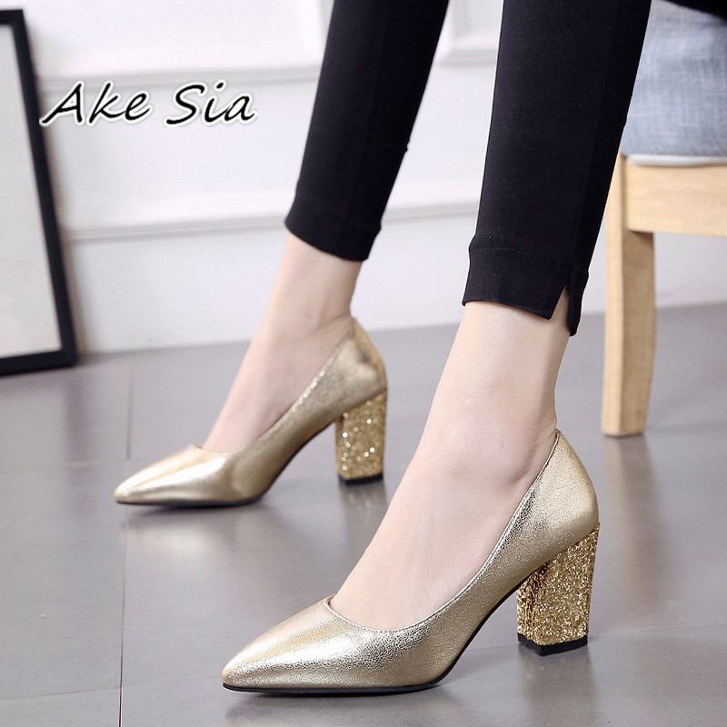 2019 autumn new Low-heeled shoes with pointed female with coarse 7cm high heels black sequined shoes Sandalias femeninas s086(China)