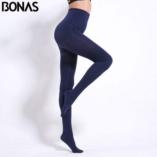 BONAS 80D Women Spring Tights High Elastic Solid  Autumn Pantyhose Women Sexy Slim Legins Female Tights Plus Size collant Femme 2