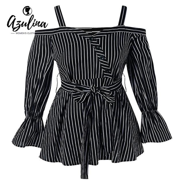 9bb86814c5802 AZULINA Plus Size Cold Shoulder Striped Peplum Blouse Women Tops Autumn Square  Neck Long Sleeves Blouses Shirts Big Size Blusas
