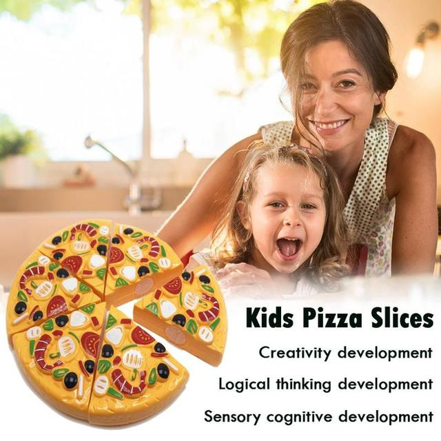 9Pcs/Set Kids Pizza Slices Food Pretend Play Toy Dinner Kitchen Toys Cutting Girls Boys Children Educational Toys with Knife 3
