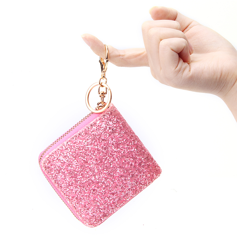 Rainbow Women's  Short Wallet Bling Zipper Clutch Coin Purse Mini Casual Cash Purse Bag Bling Glitter Ladies Small Card Holders