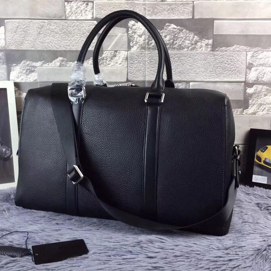 Homme marque en cuir véritable sacs de voyage noir gros sacs vêtements couture tissu en cuir véritable