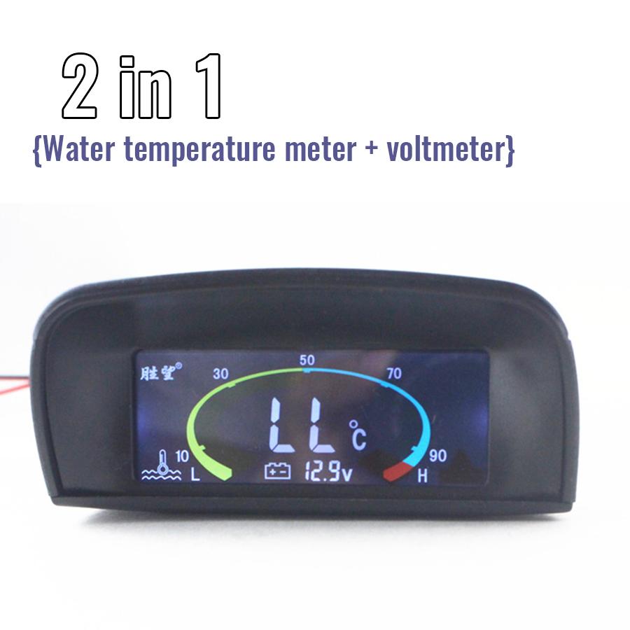2 in 1 Meter 12v/24v Car Truck LCD Digital Water Temperature Voltmeter Water Temperature gauge + Voltage Gauge