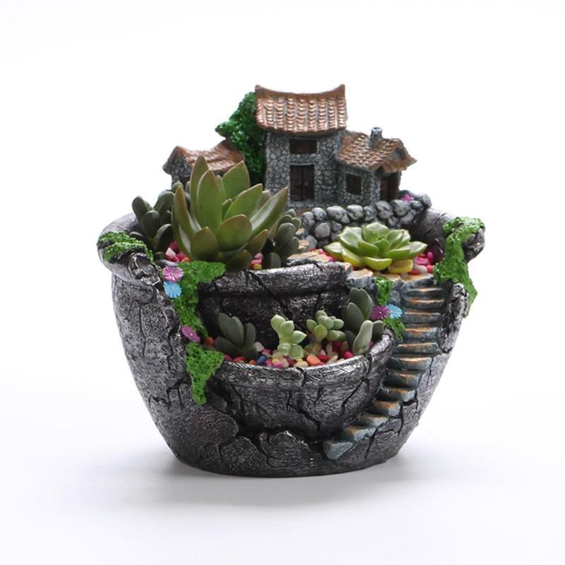 Succulent Plants Planter Flowerpot Resin Flower Pot Desktop Potted Holder Home Garden Decoration Plants Holder Flower Pots