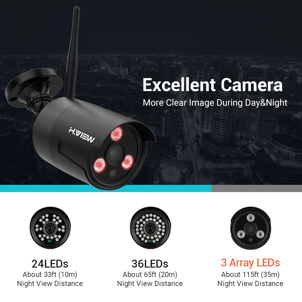 Image 3 - H.VIEW 1080P Wifi CCTV Camera Security System Kit Wireless Video Surveillance with Recording Wireless CCTV System 1080P 2MP Kit-in Surveillance System from Security & Protection