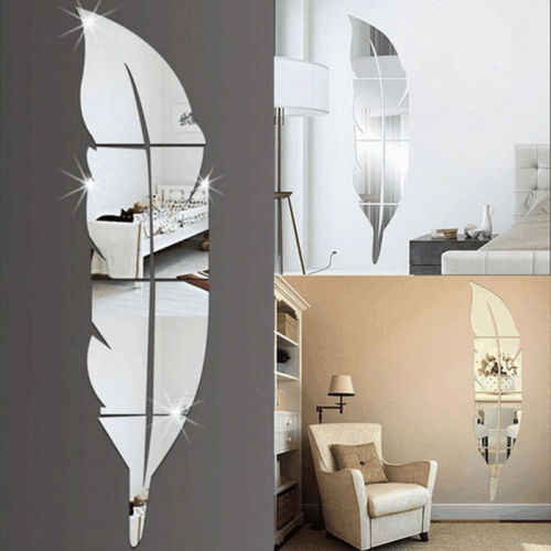 Fashion Modern 3D Feather Decorative Mirror Wall Sticker Home Decoration Room Decal Mural Art DIY