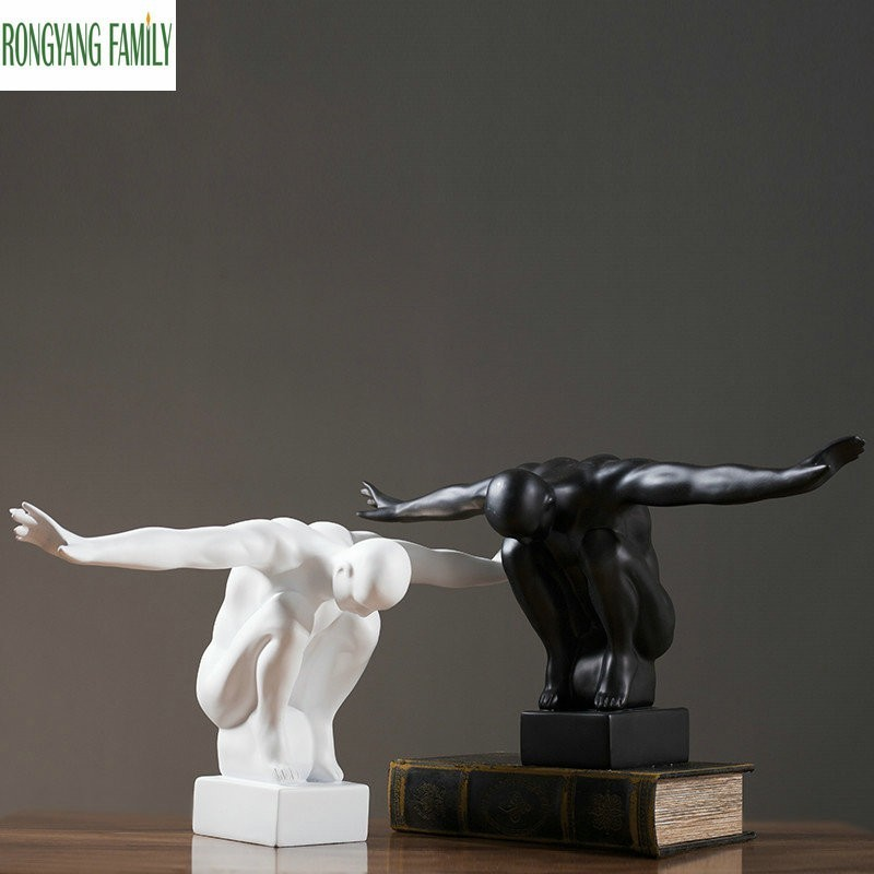 Nordic Ornament Sculpture Flying Self Character Statue Resin Model Abstract Home Motion Figurines Handmade Figure Decor Crafts