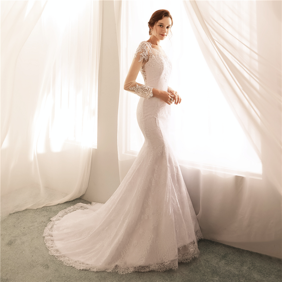 us $188.0 |ryanth vestido de noiva illusion back mermaid wedding dresses  long sleeves lace wedding dress 2018 bridal gown robe de mariage-in wedding