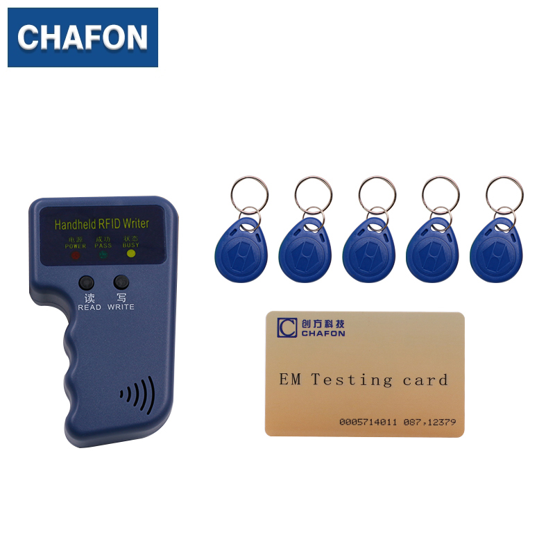 Handheld 125Khz EM4100 RFID reader copier writer  duplicator(T5557/T5577/EM4305)+ 5pcs EM4305 writable keyfobs free shipping