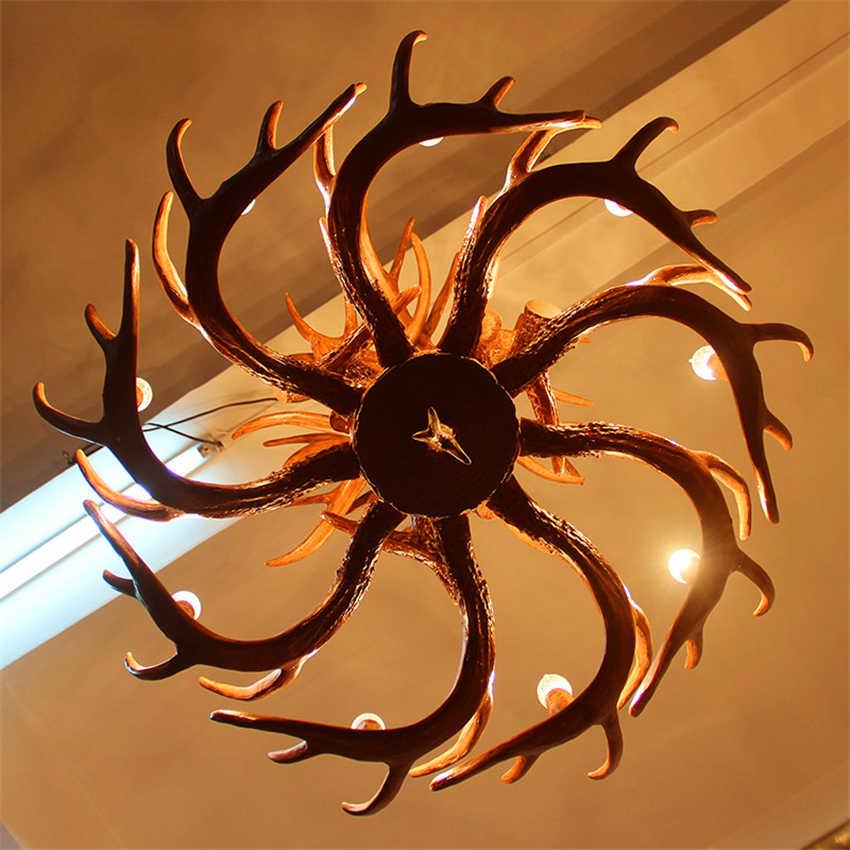 Nirdinic свеча рога Светодиодный Люстра Освещение американская Ретро Смола Лофт подвесной светильник украшение в помещении Кухонные светильники luminaria