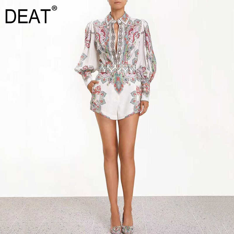 DEAT 2019 new summer lantern sleeves single breasted vintage shirt female high waist hot shorts set vacation WF50109L