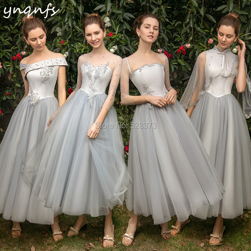 YNQNFS B10 Real Tulle Vintage Princess Tea Length Silver   Bridesmaid     Dresses   50s 60s Wedding Guest Wear Party Gown Vestido Curto