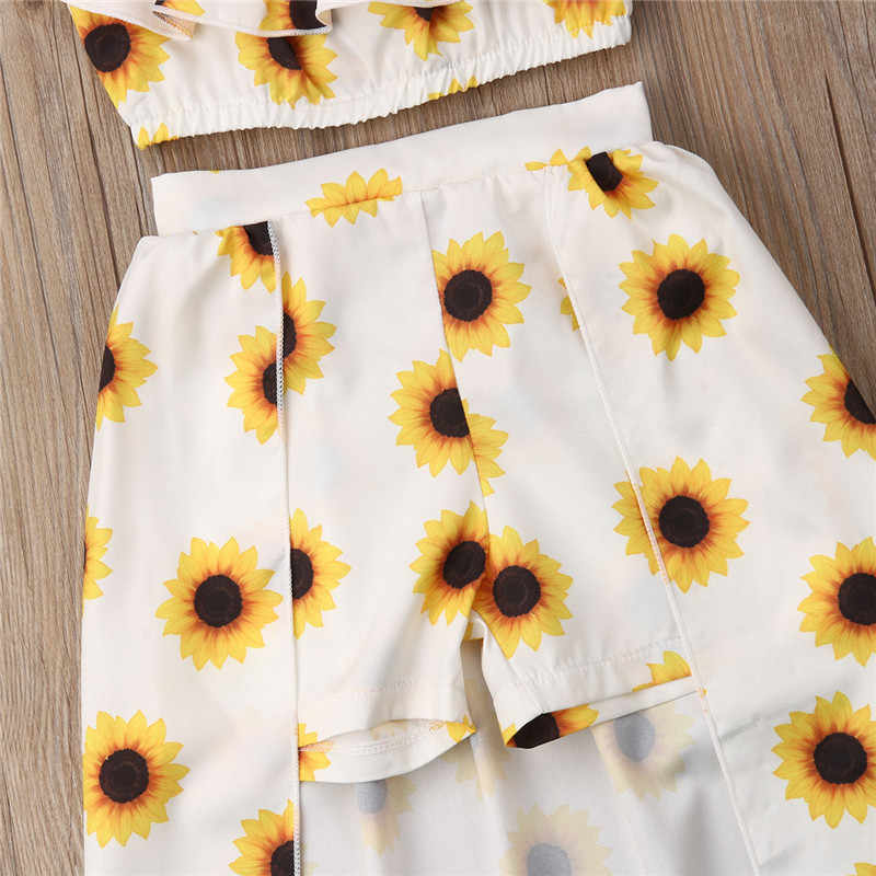 f781bf0671754 Fashion Kids Baby Girl Sunflower Print Summer Sets Ruffle Off Shoulder Crop  Tops Long Skirts Bow Headband 3Pcs Outfits 1-6Y