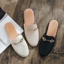 Корейские модные тапочки; элегантная женская обувь из искусственной кожи; тапочки на низком каблуке