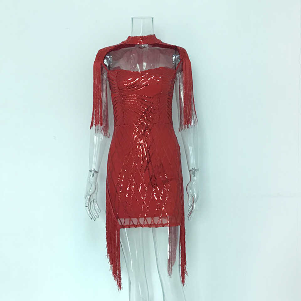 b97011a556 Karlofea Women Fashion Sequin Birthday Party Dress Chic Tassel Fringe  Sleeve Bodycon Dress Red Sexy Club Night Short Vestidos