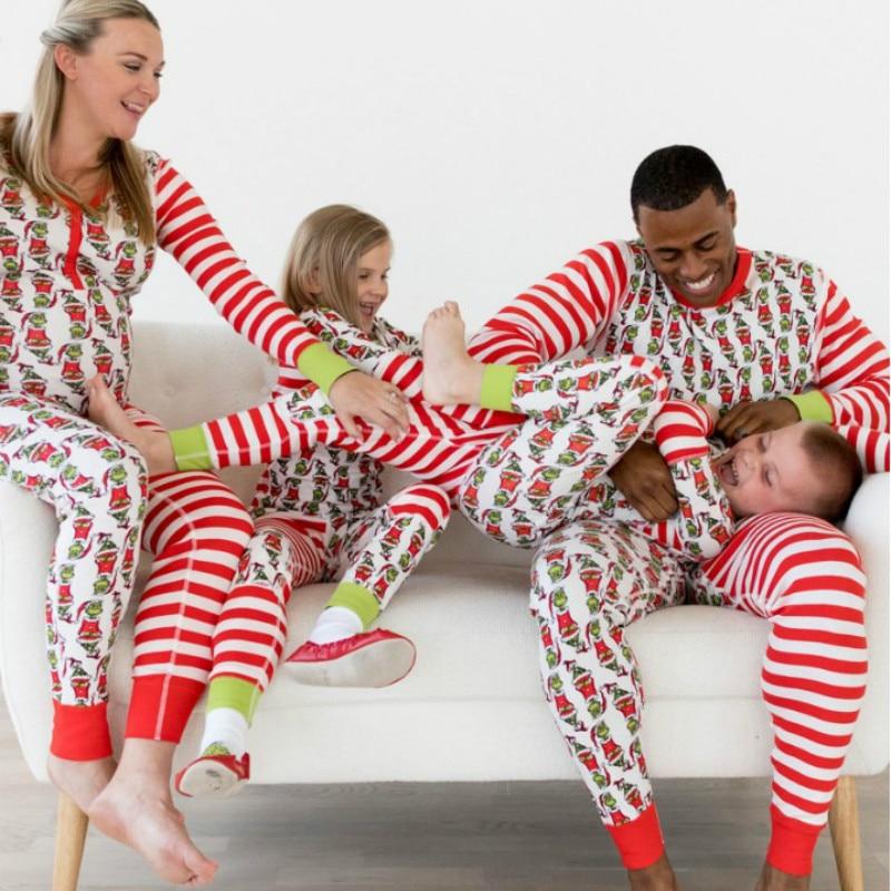 2018 Family Matching Christmas Pajamas Set Women Baby Kids Elf Sleepwear Cartoon Nightwear Family Matching Clothes цена